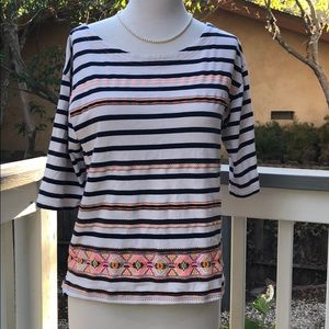 J crew stitchwork embroidered striped top size med